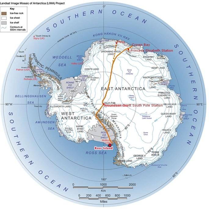 Credit : LIMA ProjectLe trajet qu'envisage de prendre Sir Ranulph Fiennes
