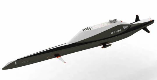 Mi-bateau, mi-submersible, le SMX-25, imaginé par le bureau d'ingénierie de DCNS Lorient, a été présenté en avant-première au salon Euronaval du Bourget. (crédit DCNS)
