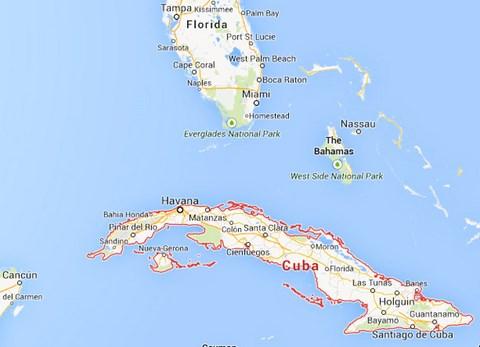 Le témoin dans l'affaire 57018 a déclaré que le navire de la Garde côtière était près de Cuba. (Crédit: Google)