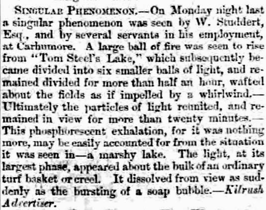 Ball of Fire Rises From Lake - Belfast Morning Northern Ireland News 9-28-1860