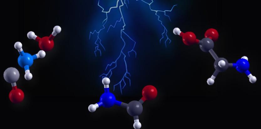 Vue d'artiste de l'effet d'un éclair ou d'un champ électrique intense sur de molécules simples  (à gauche : eau, ammoniac, monoxyde de carbone),  produisant d'abord de la formamide  (au centre) et ensuite l'acide  aminé le plus  simple, la glycine (à droite). A. Marco Saitta (IMPMC/UPMC)  et Franz Saija (IPCF/CNR)