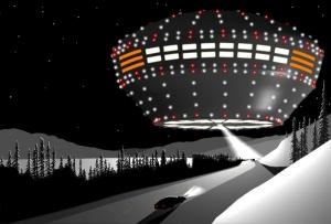 """""""vaisseau mère"""" observé depuis l'autoroute de  Klondike , territoire de Yukon Territory, 11 décembre 1996. crédit image  :  badufos.blogspot.fr/"""