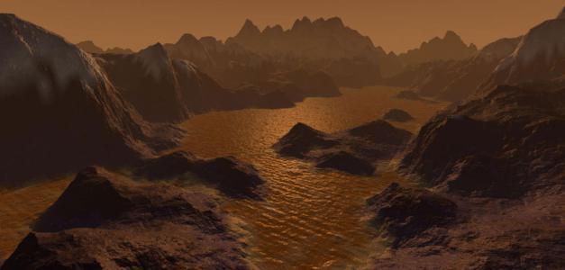 Crédit: lejournal.cnrs.frVue d'artiste de la surface de Titan, plus gros satellite de Saturne