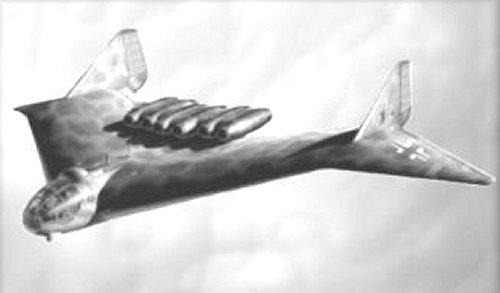 La silhouette de l'Arado Ar E-555 n'est pas sans rappeler celle du célèbre bombardier furtif américain B-2 ... crédit : image: soldatsminiaturesdusergentgarcia.over-blog.com/