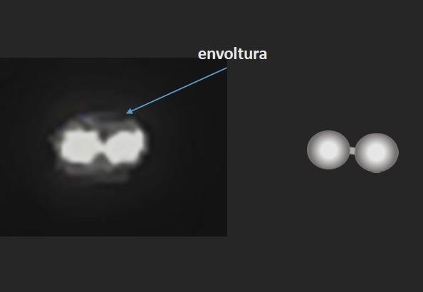 Credit photo/COURTESY CEFAA La vidéo représente deux lumières circulaires blanches connectées ou des points chauds, libérant beaucoup de chaleur (à gauche). Cette image faisait partie d'une analyse réalisée par l'astrophysicien Luis Barrera. «Envoltura» signifie «enveloppe».